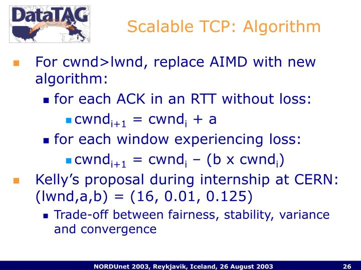 Scalable TCP: Algorithm