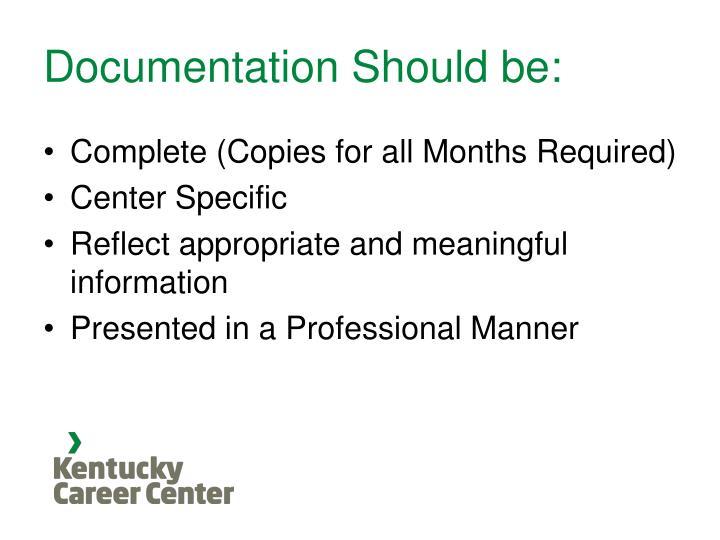 Documentation Should be: