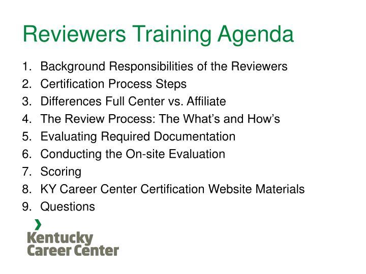 Reviewers Training Agenda