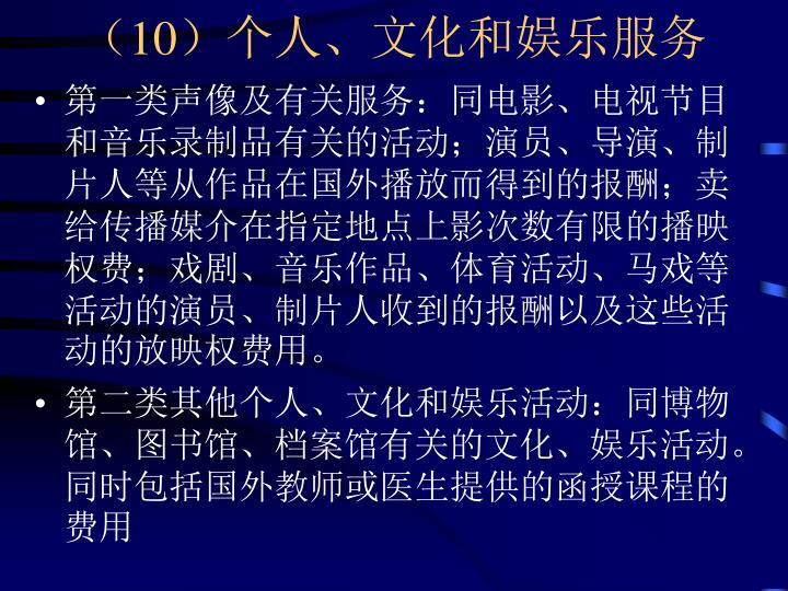 (10)个人、文化和娱乐服务
