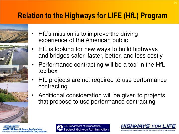 Relation to the Highways for LIFE (HfL) Program