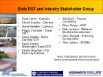 state dot and industry stakeholder group