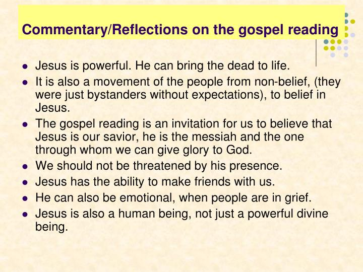 Commentary/Reflections on the gospel reading