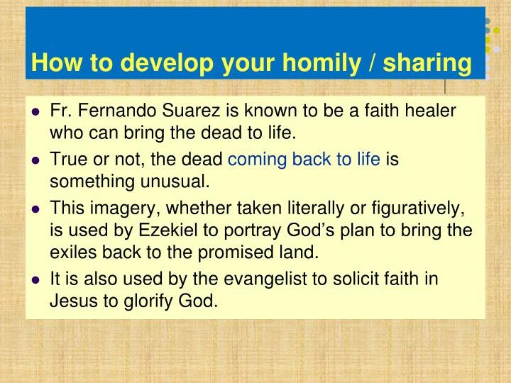 How to develop your homily / sharing