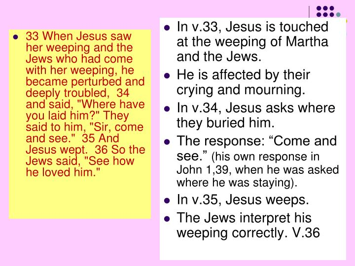 """33 When Jesus saw her weeping and the Jews who had come with her weeping, he became perturbed and deeply troubled,  34 and said, """"Where have you laid him?"""" They said to him, """"Sir, come and see.""""  35 And Jesus wept.  36 So the Jews said, """"See how he loved him."""""""