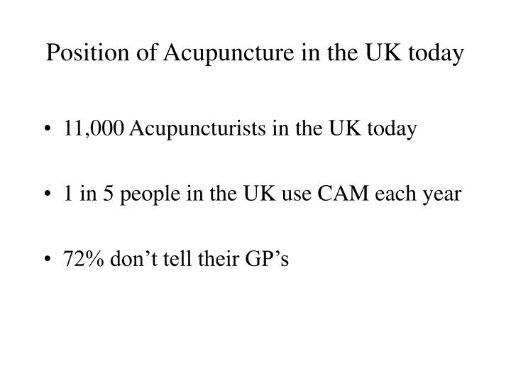Position of Acupuncture in the UK today