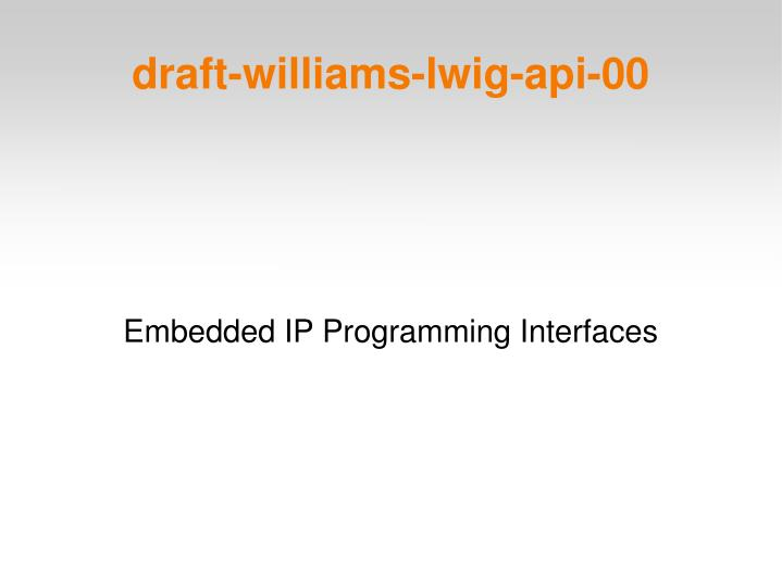 Embedded ip programming interfaces