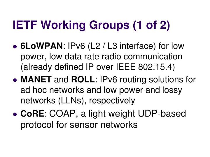 IETF Working Groups (1 of 2)