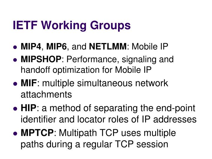 IETF Working Groups