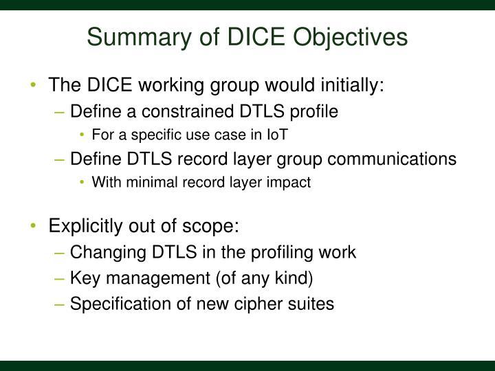 Summary of DICE Objectives