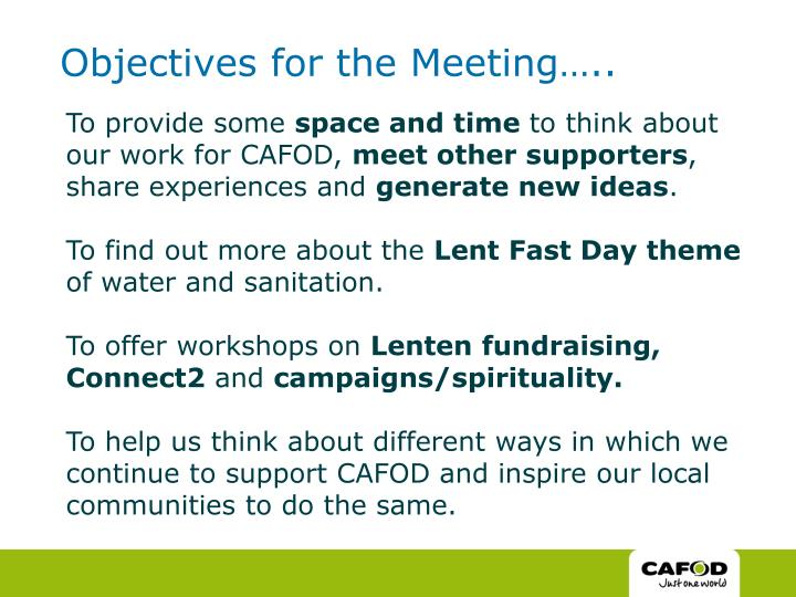 Objectives for the meeting