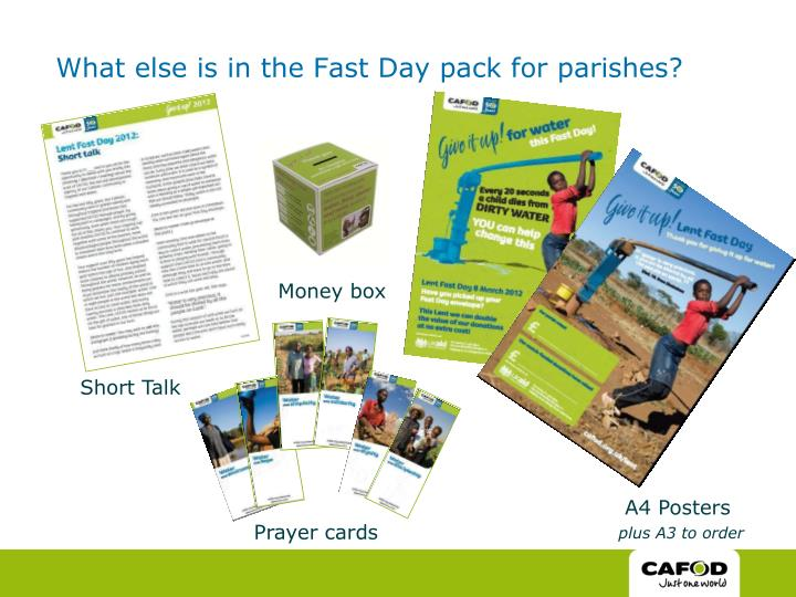 What else is in the Fast Day pack for parishes?