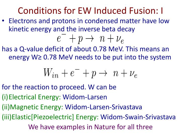 Conditions for EW Induced Fusion: I