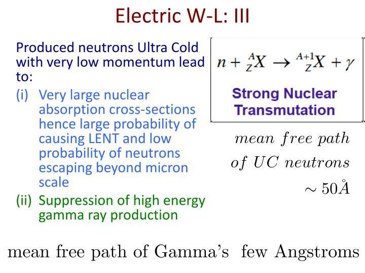 Electric W-L: III