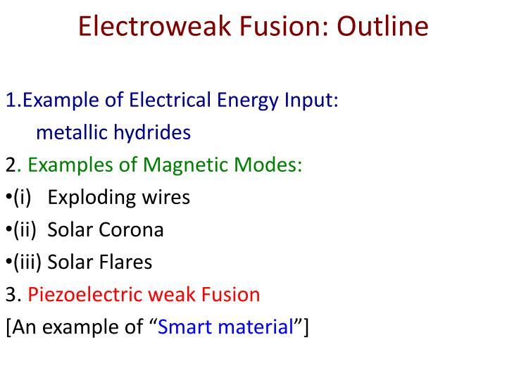 Electroweak Fusion: Outline