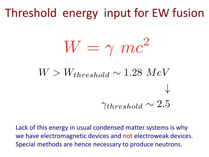 Threshold  energy  input for EW fusion