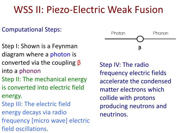WSS II: Piezo-Electric Weak Fusion