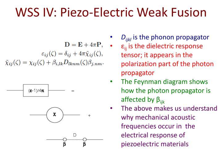 WSS IV: Piezo-Electric Weak Fusion