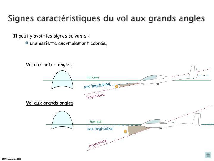Signes caractéristiques du vol aux grands angles