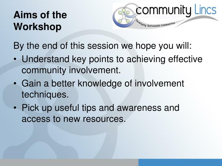 Aims of the workshop