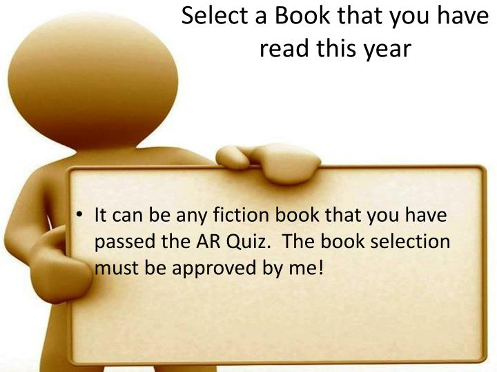 Select a book that you have read this year