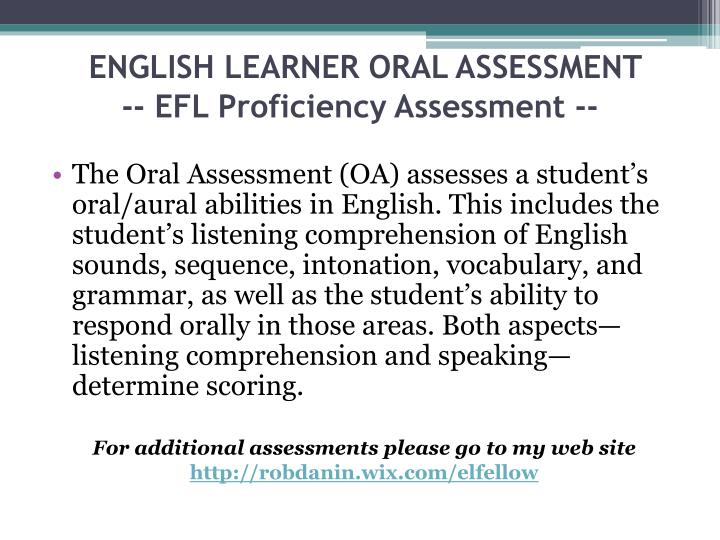 ENGLISH LEARNER ORAL ASSESSMENT