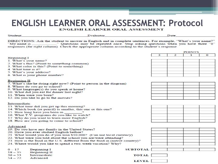 ENGLISH LEARNER ORAL ASSESSMENT: Protocol