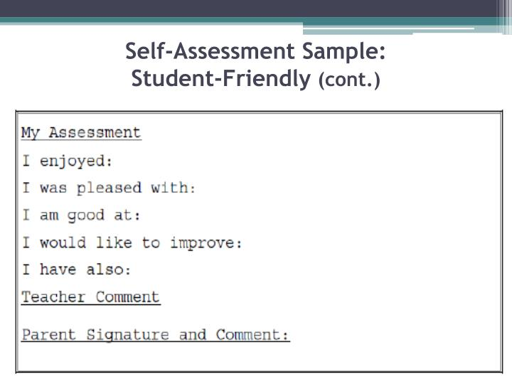 Self-Assessment Sample: