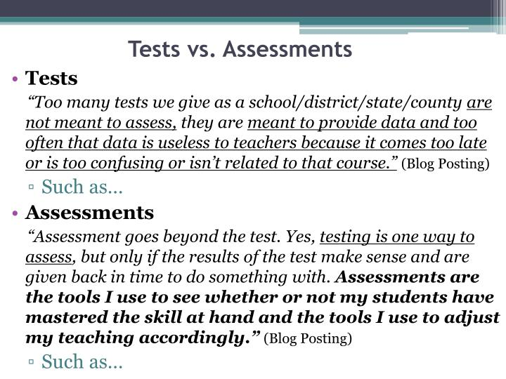Tests vs assessments