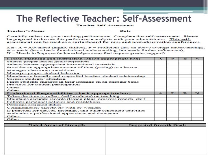 The Reflective Teacher: Self-Assessment