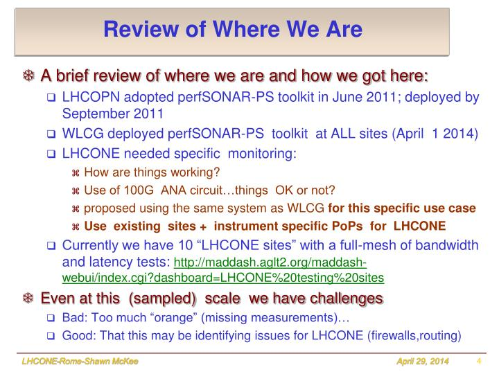 Review of Where We Are