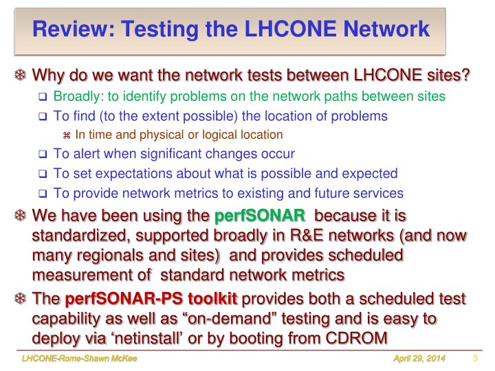 Review: Testing the LHCONE Network