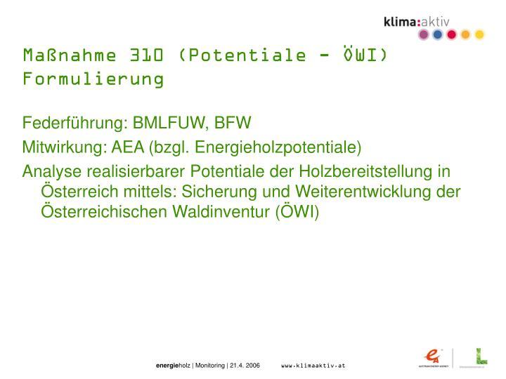 Maßnahme 310 (Potentiale - ÖWI)