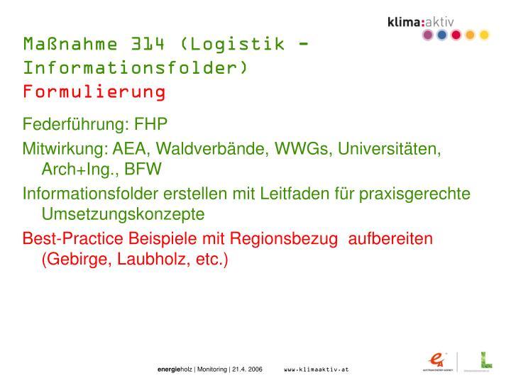 Maßnahme 314 (Logistik - Informationsfolder)