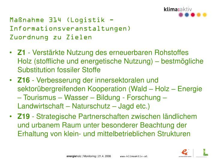 Maßnahme 314 (Logistik - Informationsveranstaltungen)