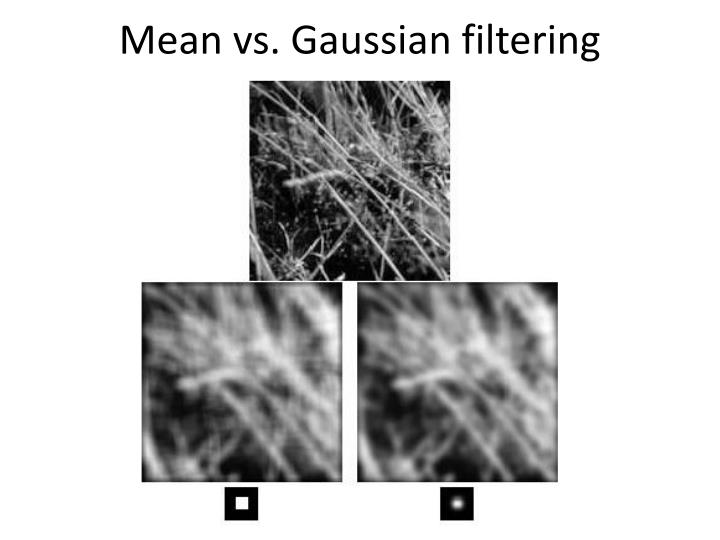 Mean vs. Gaussian filtering