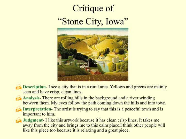 Critique of stone city iowa