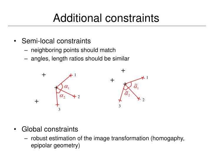 Additional constraints
