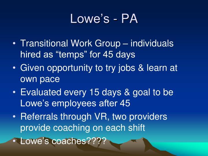 Lowe's - PA