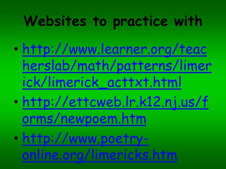 Websites to practice with