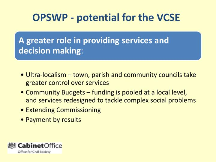OPSWP - potential for the VCSE