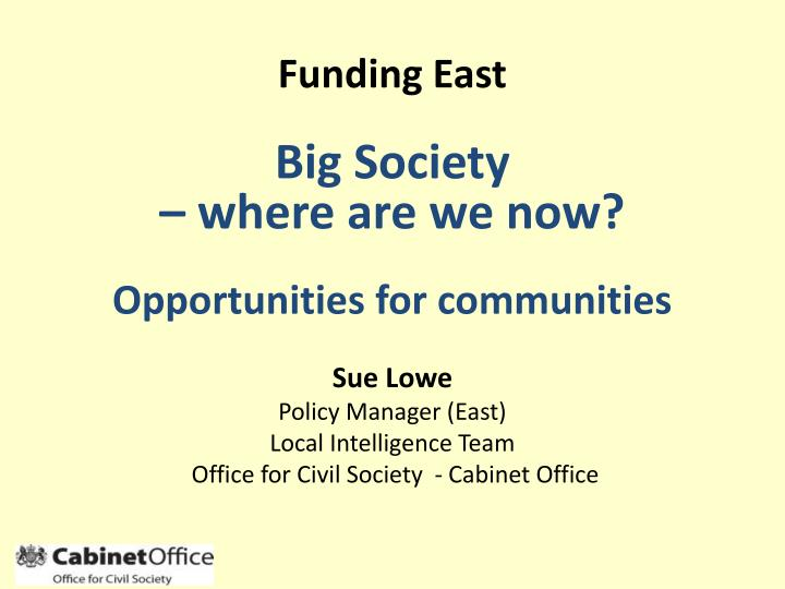 Sue lowe policy manager east local intelligence team office for civil society cabinet office