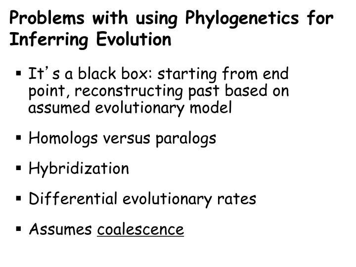 Problems with using Phylogenetics for Inferring Evolution