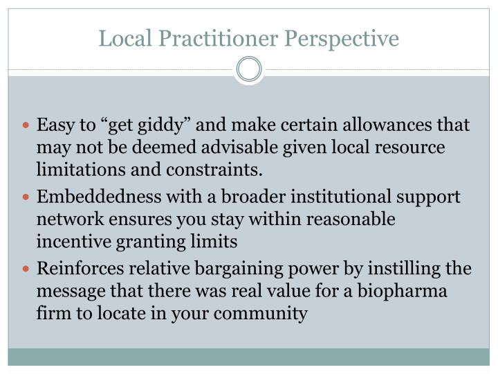 Local Practitioner Perspective