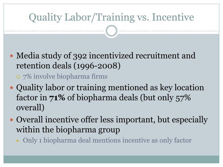Quality Labor/Training vs. Incentive