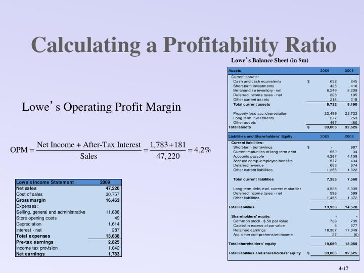 Calculating a Profitability Ratio