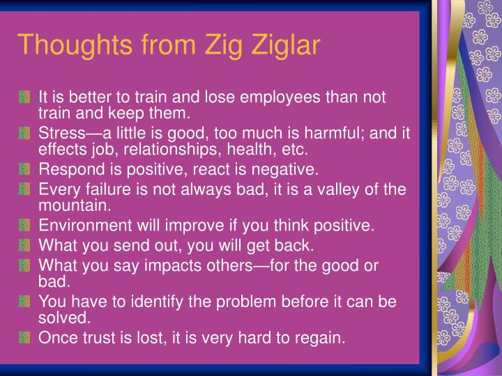 Thoughts from Zig Ziglar