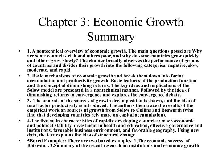 Chapter 3: Economic Growth Summary