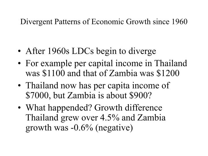 Divergent patterns of economic growth since 1960