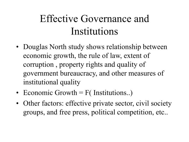 Effective Governance and Institutions